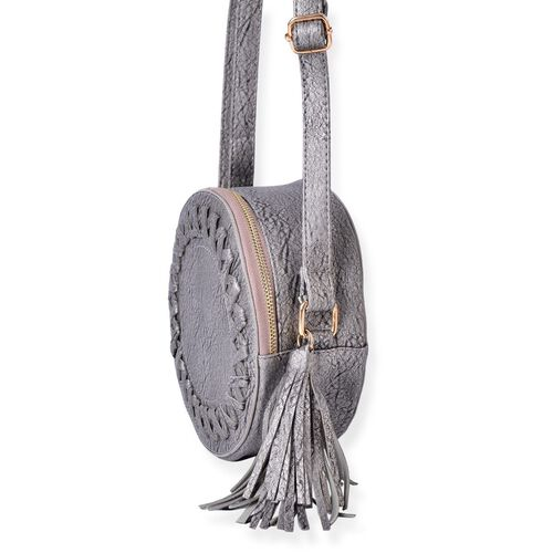 Silver and Grey Colour Canteen Crossbody Bag with Long Tassels and Adjustable Shoulder Strap (Size 19x19x8 Cm)