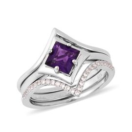 Set of 2 Isabella Liu Twilight Lusaka Amethyst and Zircon Star Design Ring in Rhodium Plated Silver