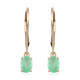 9K Yellow Gold AA Boyaca Colombian Emerald Lever Back Earrings 0.75 Ct.