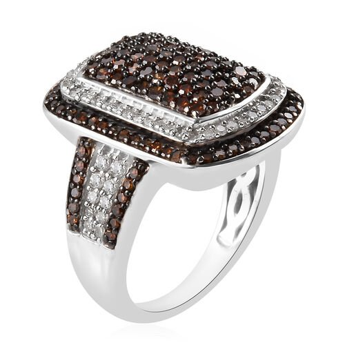 Red and White Diamond (Rnd) Cluster Ring in Platinum Overlay Sterling Silver 1.32 Ct.