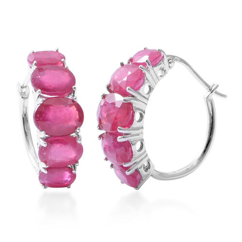African Ruby (Ovl) Earrings (with Clasp Lock) in Rhodium Overlay Sterling Silver 11.250 Ct.
