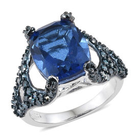 5.75 Ct Minas Gerais Twilight Quartz and Blue Diamond Ring in Platinum and Blue Plated Silver