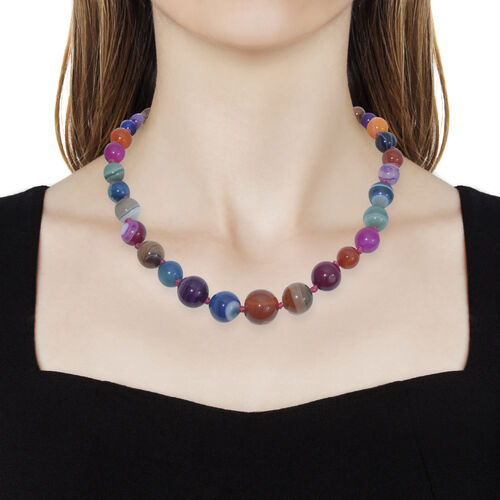 Multi Colour Quartzite Ball Beads Graduated Necklace (Size 18 with 2 Inch Extension) in Platinum Overlay Sterling Silver 221.250 Ct.