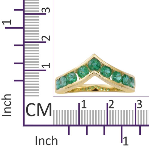 9K Yellow Gold AA Kagem Zambian Emerald (Rnd) Wishbone Ring 1.250 Ct.