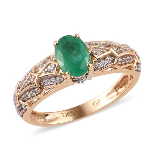 GP - 9K Yellow Gold Kagem Zambian Emerald, Natural Cambodian Zircon and Blue Sapphire Ring 1.00 Ct.
