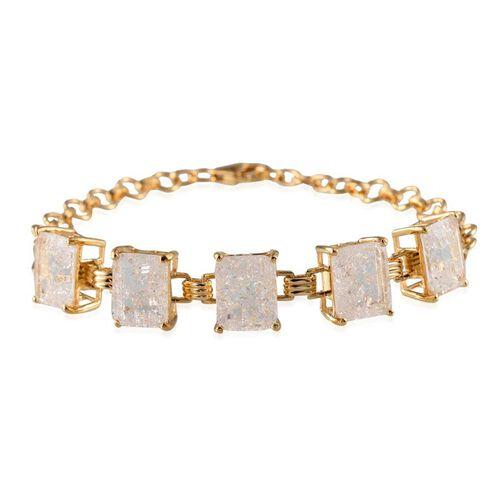 White Crackled Quartz (Oct) Bracelet (Size 8) in 14K Gold Overlay Sterling Silver 17.000 Ct.