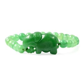 150 Carat Carved Green Jade Horse Stretchable Beaded Bracelet 7 Inch