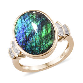 5.4 Ct Canadian Ammolite and Diamond Solitaire Ring in 9K Gold 3 Grams