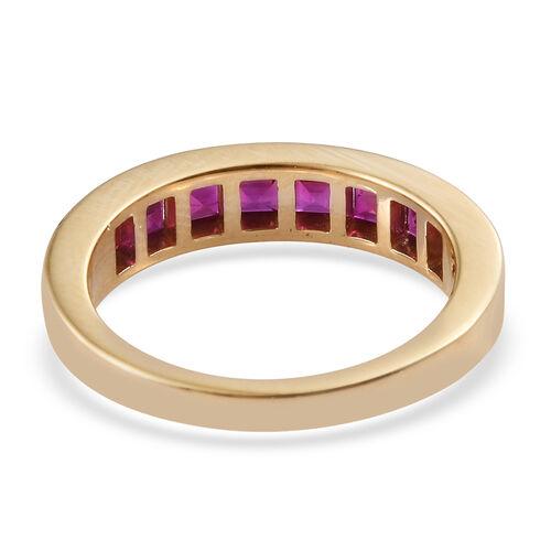 ILIANA 18K Yellow Gold AAAA Burmese Ruby (Princess Cut) Half Eternity Band Ring 1.500  Ct.