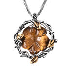 Yellow Tiger Eye Carved Floral Necklace (Size 20) in Stainless Steel 10.00 Ct.