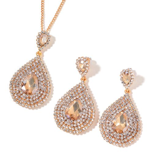 Simulated Champagne Diamond and White Austrian Crystal Necklace (Size 20 with 3 Inch Extender) and Earrings (with Push Back) in Gold Tone