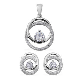 2 Piece Set ELANZA Simulated Diamond Circle Pendant and Earrings in Rhodium Plated Silver