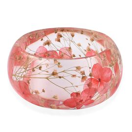 Handmade Pink Colour Real Dried Flower Resin Bangle