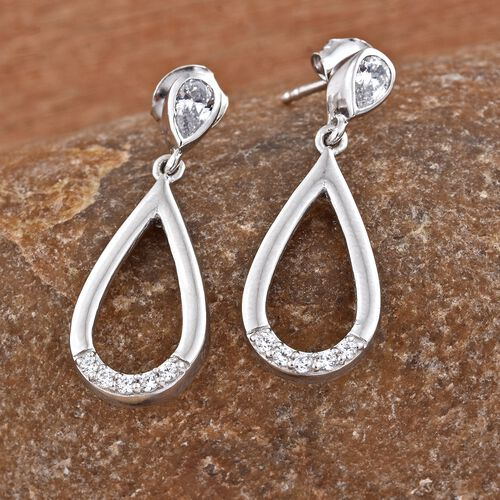 J Francis - Platinum Overlay Sterling Silver (Pear) Teardrop Earrings (with Push Back) Made with SWAROVSKI ZIRCONIA