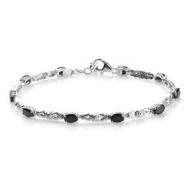 One Time Deal - Elite Shungite (Ovl) Bracelet (Size 7.5 with 1 inch Extender) in Platinum Overlay St