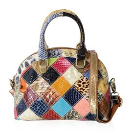 Brand New 100% Genuine Leather Animal Print Patchwork Handbag with Removable Shoulder Strap (Size 26x22x13 Cm)