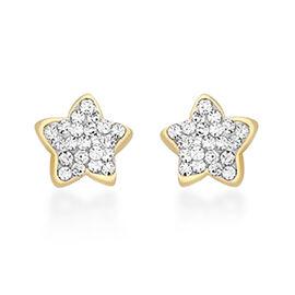 Children Simulated Diamond Star Stud Earrings in 9K Gold