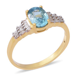 Blue Zircon and Diamond Ballerina Design Ring in Gold Plated Sterling Silver