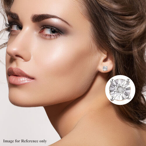 Natural Diamond (Rnd) Stud Earrings (with Push Back) in 14K Gold Overlay Sterling Silver