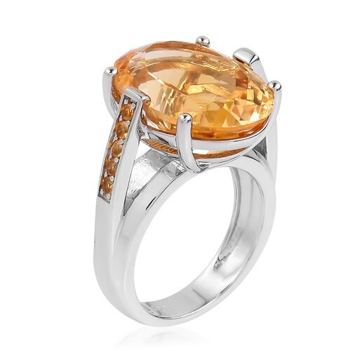Rare Size Madeira Citrine (Ovl 18x13mm) and Citrine Ring in Rhodium Plated Sterling Silver 12.20 Ct. Silver wt 6.45 Gms.