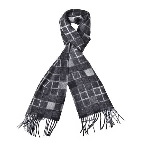 100% Wool Black, Grey and White Colour Checker Pattern Scarf with Tassels (Size 190X25 Cm)