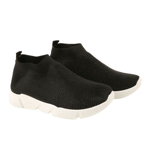 Black Fashionable Ladies Trainers (Size 5)