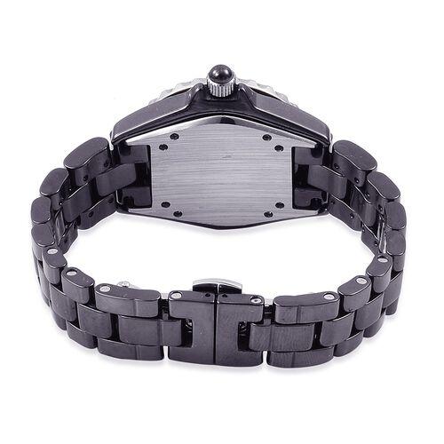 EON 1962 SWISS MOVEMENT African Ruby (3.11 Ct) Black HighTech Ceramic Sapphire Glass Watch (No of Stones 31 Pcs)
