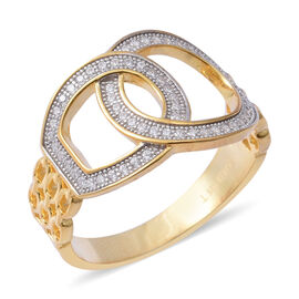 ELANZA Simulated Diamond (Rnd) Buckle Ring in Yellow Gold Overlay with Rhodium Plating Sterling Silv