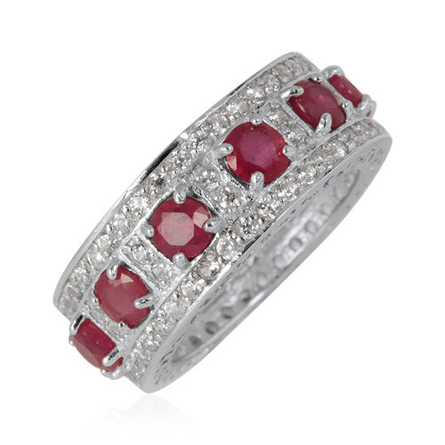 African Ruby (Rnd), White Topaz Full Eternity Ring in Rhodium Plated Sterling Silver 5.500 Ct.