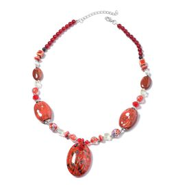 Red Murano Glass and Simulated Multi Gemstone Statement Necklace 24 with 3 inch Extender