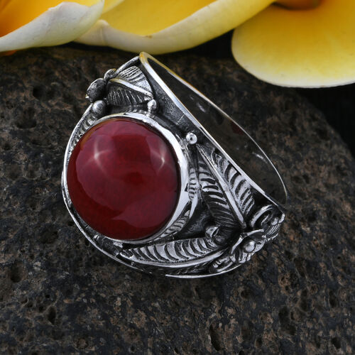 Royal Bali Collection Sponge Coral (Rnd) Fern Ring in Oxidised Sterling Silver, Silver wt 6.33 Gms.