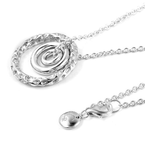 RACHEL GALLEY Rhodium Plated Sterling Silver Concentric Circle Pendant With Chain (Size 20), Silver wt. 10.69 Gms.