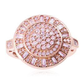 9K Rose Gold Natural Pink Diamond (Rnd and Bgt) Ring 1.00 Ct