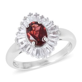 2.53 Ct Mozambique Garnet and White Topaz Halo Ring in Rhodium Plated Sterling Silver
