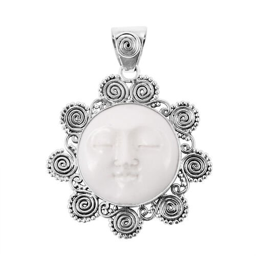 Man in the Moon - OX Bone Carved Face (Rnd) Pendant in Sterling Silver 18.000 Ct.