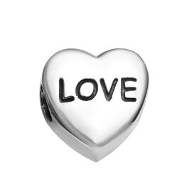Charmes De Memoire Heart Charm in Platinum Plated Sterling Silver