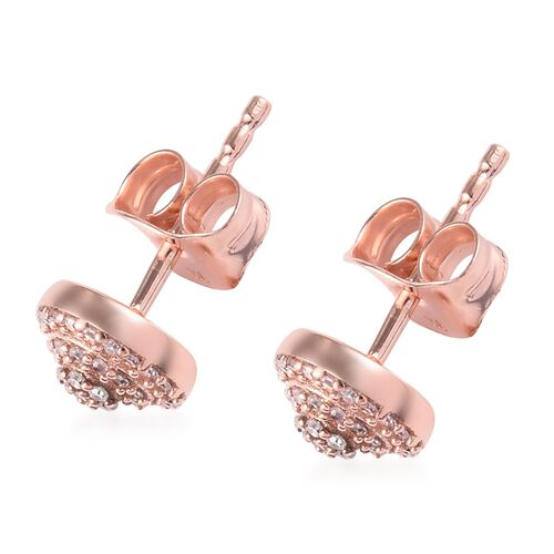 9K Rose Gold Natural Pink Diamond Stud Earrings (with Push Back) 0.25 Ct