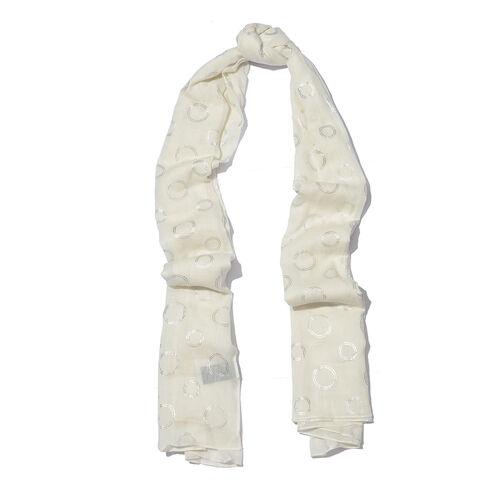 New for Season - 100% Cotton Cream Colour Scarf with Silver Foil Circle Print (Size 180x110 Cm)