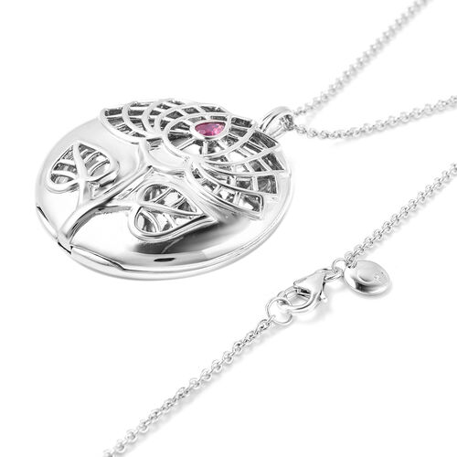 RACHEL GALLEY African Ruby Sacred Lotus Design Pendant with Chain (Size 30 with Extender) in Rhodium Overlay Sterling Silver, Silver wt 31.27 Gms