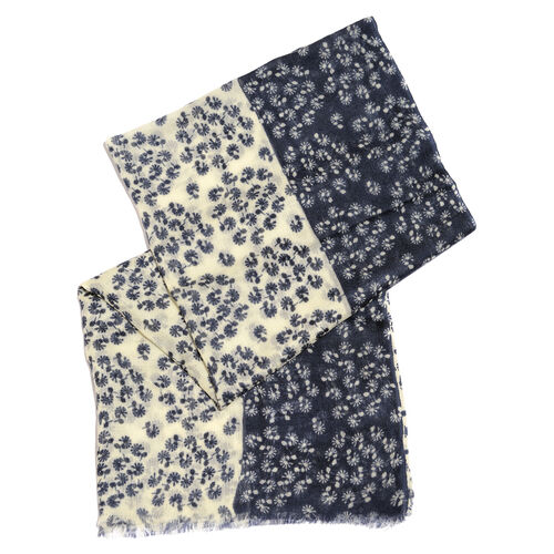 100% Merino Wool Dark Blue and Off White Colour Floral Pattern Scarf with Fringes (Size 170X70 Cm)