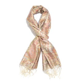 Jacquard Pattern 100% Mulberry Silk Cream, Multi Colour Paisley Pattern Jacquard Jamawar Scarf with