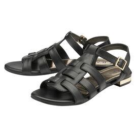 RAVEL Black Leather Renata Flat Sandals