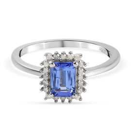 One Time Deal- AAA Tanzanite (Oct 1.00 Cts) and Diamond Ring in Sterling Silver 1.15 Ct.