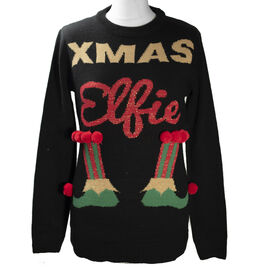 Knitted Sequin Xmas Elf Ladies Jumper (Size S/ 8-10) - Black