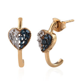 Blue and White Diamond (Bgt) J-Hoop Heart Earrings (with Push Back) in 14K Gold Overlay Sterling Sil