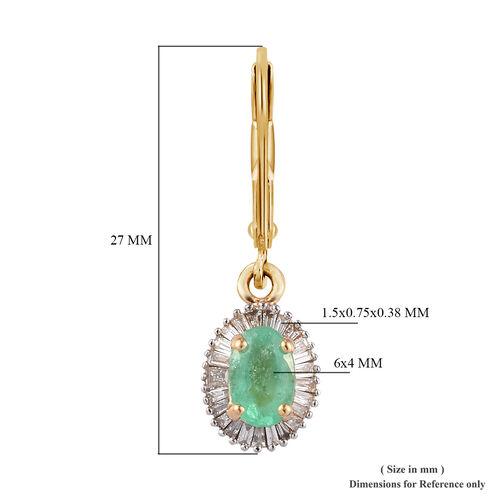 ILIANA 18K Yellow Gold AAA Boyaca Colombian Emerald and Diamond (SI/G-H) Lever Back Earrings 1.15 Ct.