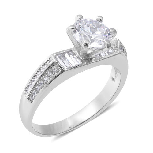 Designer Inspired- ELANZA Simulated Diamond (Rnd) Ring in Sterling Silver