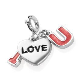 Platinum Overlay Sterling Silver Enamelled I Love You Charm