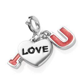 Platinum Overlay Sterling Silver Enamelled I Love You Charm