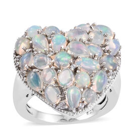 Ethiopian Welo Opal (Ovl and Pear), Natural Cambodian Zircon Heart Ring in Platinum Overlay Sterling